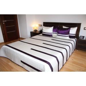 Luxusní přehozy na postel v bílé barvě s fialovými proužky