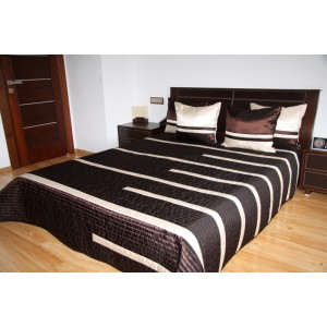 Luxusní přehozy na postel v čokoládové barvě s proužky