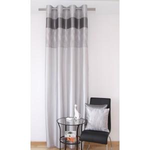Stylový hotový šedý okenní závěs s proužky