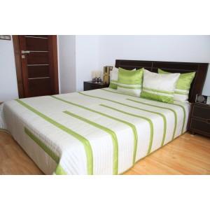 Luxusní přehozy na postel v béžové barvě se zelenými proužky