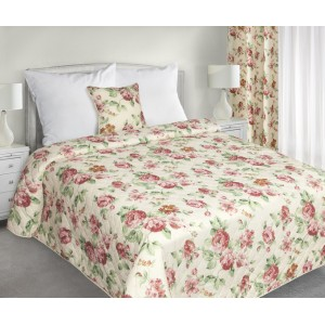 Vintage květy oboustranný přehoz na postel v krémové barvě