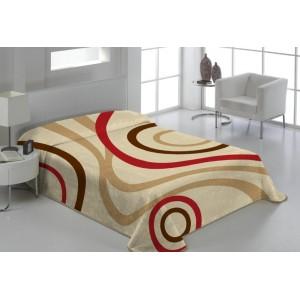 Béžová denní deka na postel s pruhy