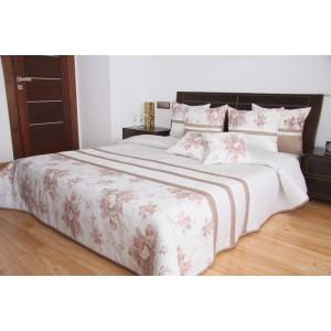 Luxusní přehozy na postel v bílé barvě s proužky a kytičkami