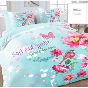 Bavlněné povlečení na postel v modré barvě s květinami