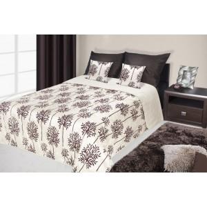 Francouzské přehozy na postel s potiskem krémově hnědé barvy s květy