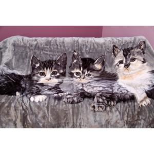 Šedá deka s kočkami akrylová