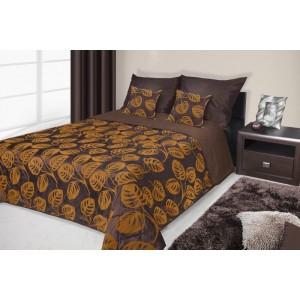 Francouzské přehozy na postel s potiskem hnědé a oranžové barvy s ornamenty