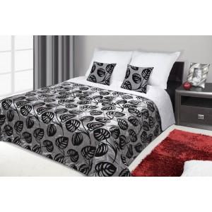 Francouzské přehozy na postel s potiskem šedé a černé barvy s ornamenty