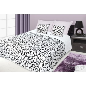 Francouzské přehozy na postel s potiskem bílé a černé barvy s ornamenty