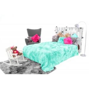 Tyrkysové OMBRE chlupaté deky na postel