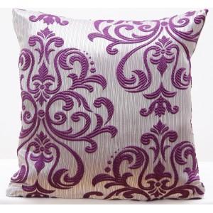 Šedé dekorační povlaky na polštáře 40x40  s fialovým motivem