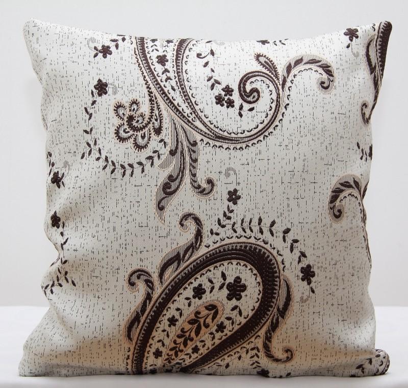 Dekorační potah na polštář krémové barvy s abstraktním vzorem