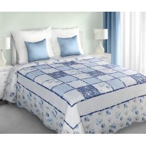 Patchwork přehoz přes postel modrý s kostkovaným vzorem