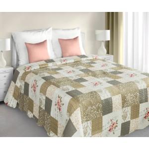 Bílo bežové patchworkové přehozy na postel i dvojlůžko s květinovým vzorem