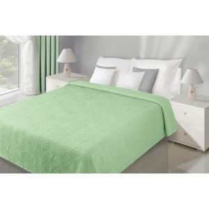 Oboustranné zelené prěhozy na manželskou postel s květovým vzorem