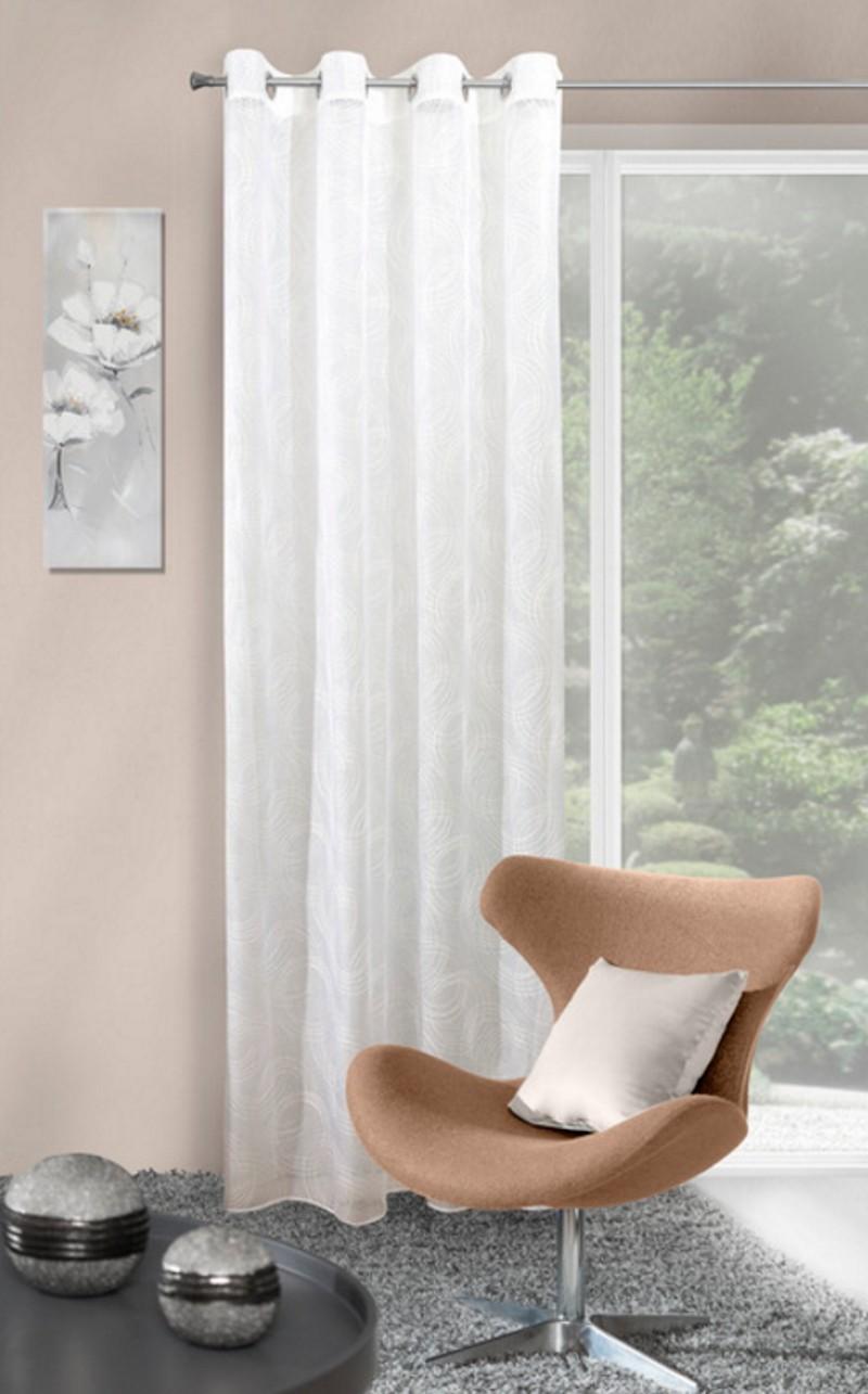 Interiérové hotové závěsy bílé s kruhovým vzorem