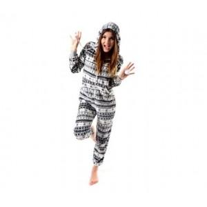 Krémovo šedé dámske pyžamové overaly s hvězdičkami