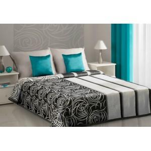 Oboustranné krémově černé přehozy přes postel s květinovým vzorem