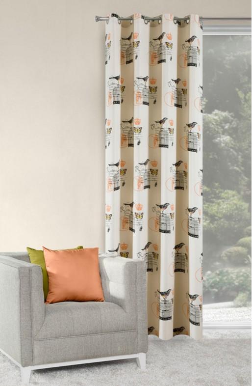 Krémové okenní závěsy k přehozem s motivem ptáčků
