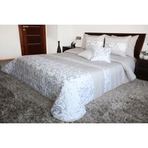 Luxusní bílo šedé přikrývky na dvoulůžko s prošívaným motivem