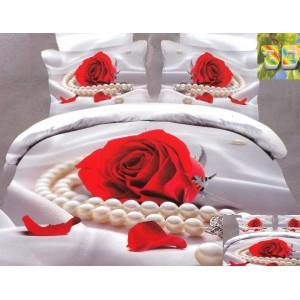 Povlečení 3D v bílé barvě s růží a šperkem