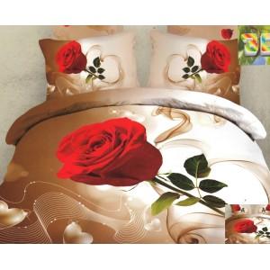 Moderní povlečení 3D v hnědo bílé barvě s červenou růží