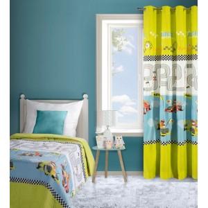 Kvalitní přehozy na dětskou postel v zeleno bílé barvě a motivem formulí