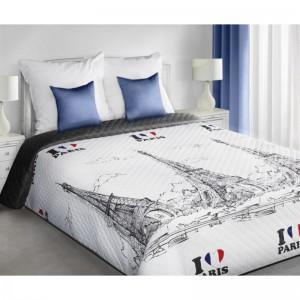 Luxusní plédy PARIS na postel v bílo černé barvě