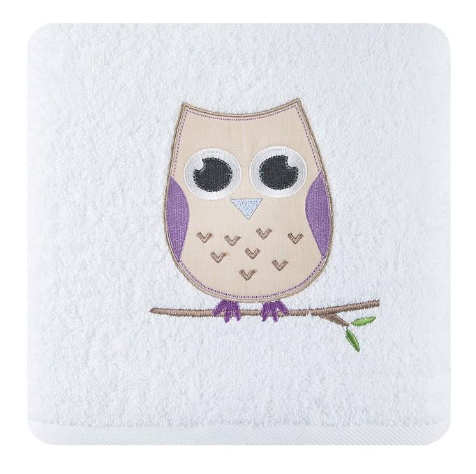 Krémové bavlnené osušky pro děti s motívem sovičky