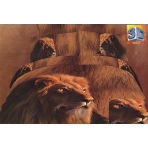 Hnědé bavlněné povlečení na postele s lvem