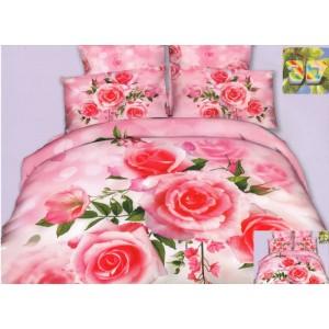Barevné povlečení 3D v růžové barvě s růžemi