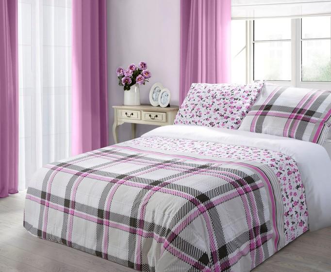 Bílé bavlněné povlečení na postel se čtverci