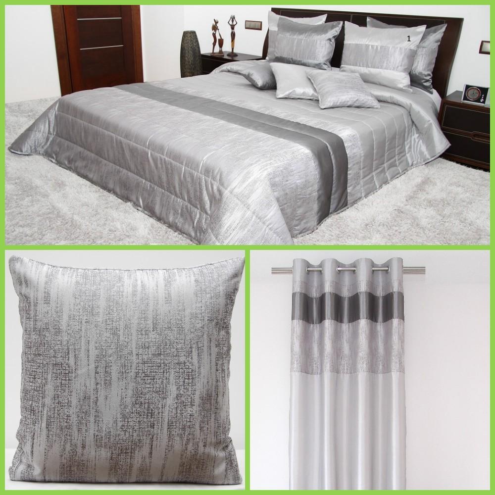Stříbrný luxusní ložnicový set s prošívaným motivem