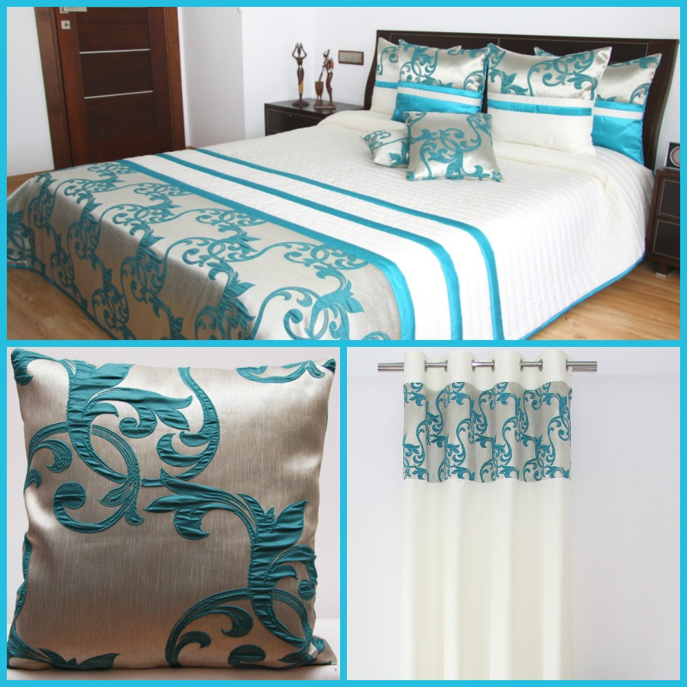 Tyrkysový dekorační set do ložnice
