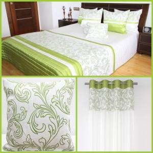 Zelené dekorační sety do ložnice se vzorem