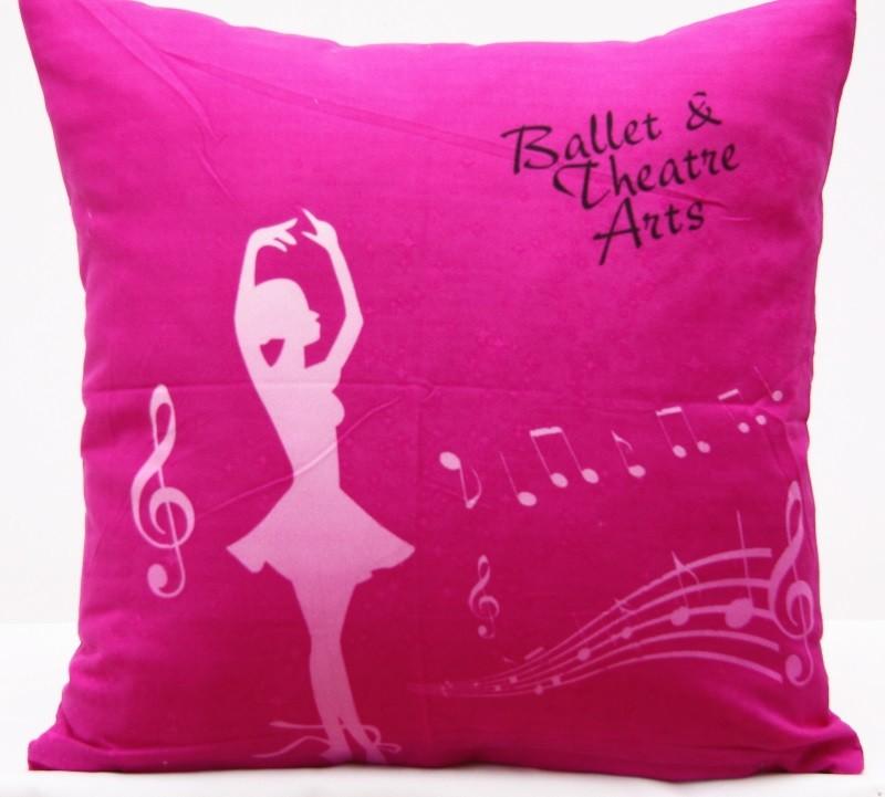 Růžový dekorační povlak na polštář se vzorem baletky