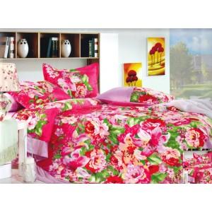 Moderní povlečení v růžové barvě s květinami