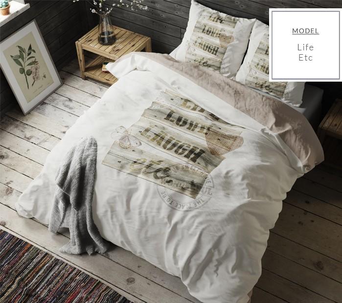 Béžové bavlněné ložní povlečení s nápisem 200 x 220 cm