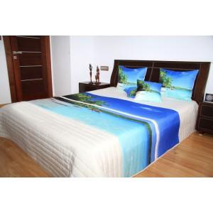 Přehoz na postel s motivem modrá laguna na bílém podkladu