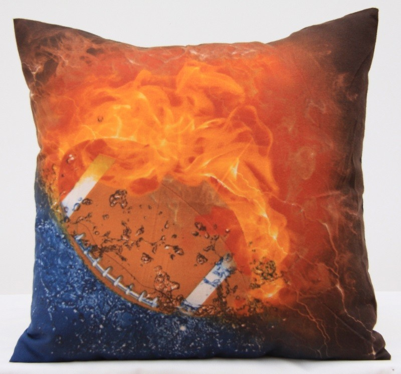 Oranžový povlak na polštář se sportovním motivem