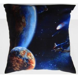 Modrý ozdobný povlak na polštář se vzorem vesmíru