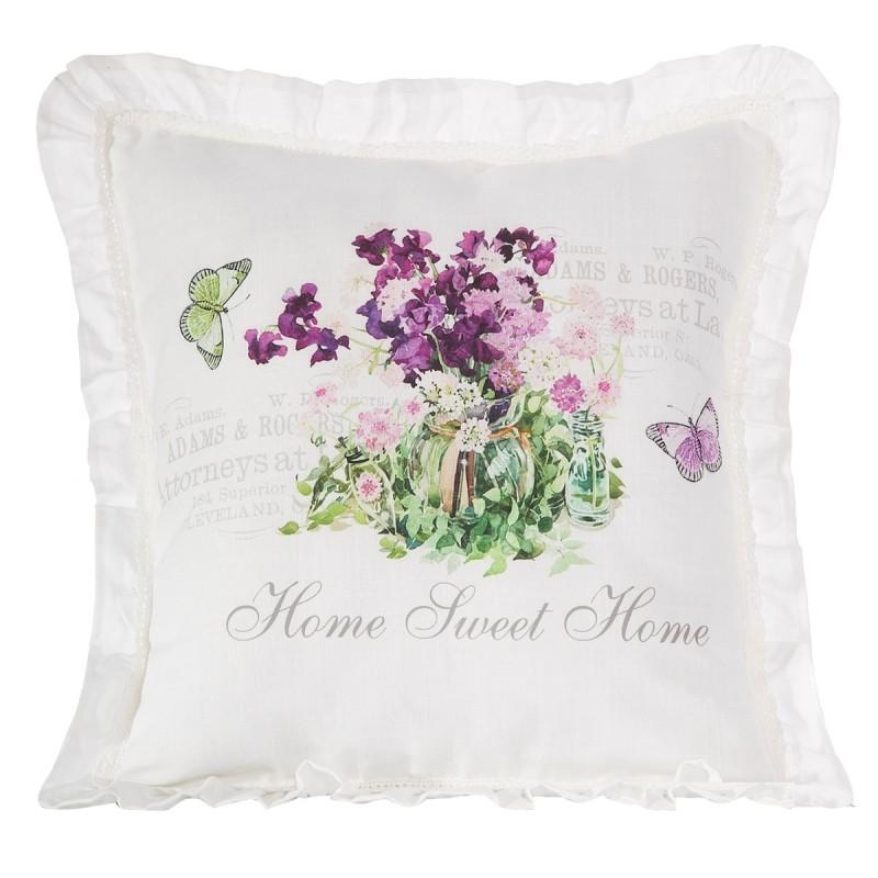 Krémové ozdobné povlaky na polštáře s motivem květů