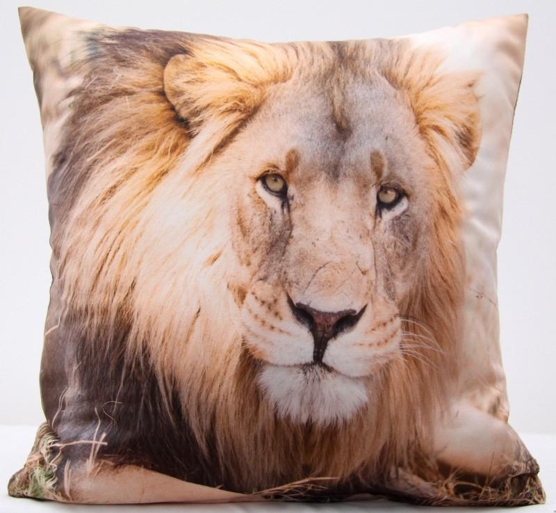 Béžový povlak na polštář se vzorem lva