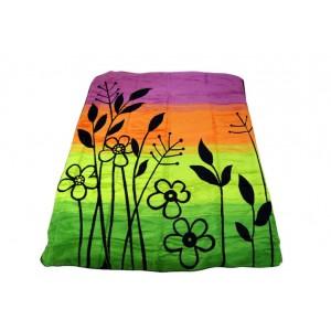 Zelená deka s motivem květů