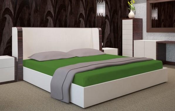 Tmavozelené prostěradlo na postel s gumičkou