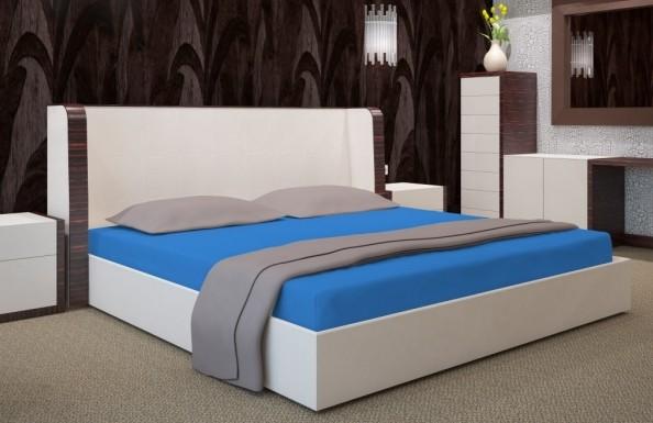 Modré napínací plachty na postele