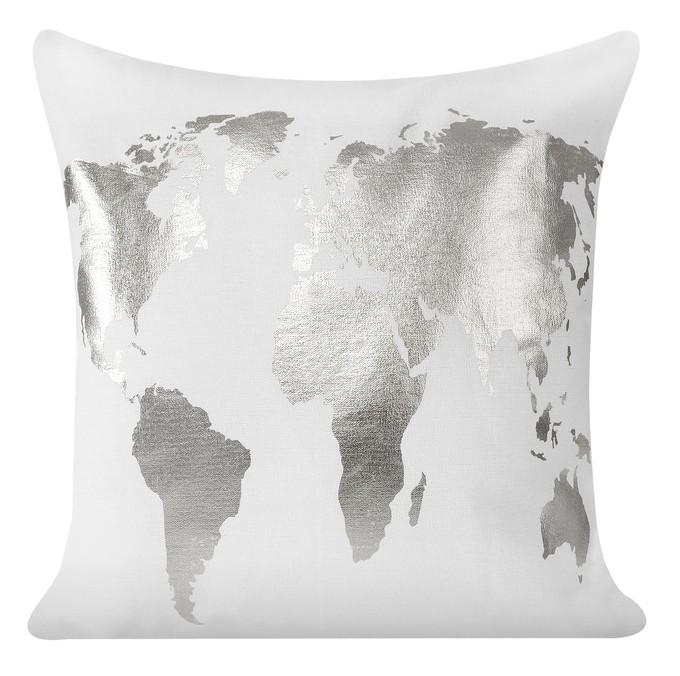 Bílý povlak na polštáře se stříbrným vzorem