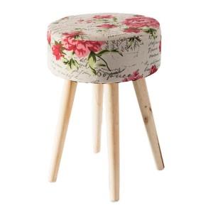 Stylová květovaná taburetka do obýváku