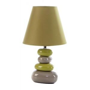 Zelená stolní lampa na keramickém podstavci