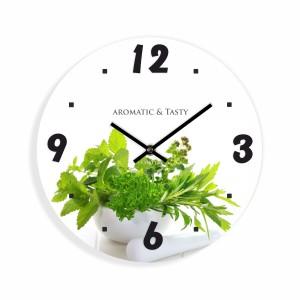 Kuchyňské nástěnné hodiny s bylinkami